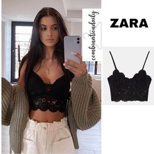 NWT Zara Blogger Favorite Black Lace Crop Top